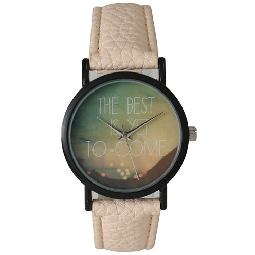 """Olivia Pratt Womens Black """"The Best Is Yet To Come"""" Multi-Color Dial Cream Leather Strap Watch 15117"""