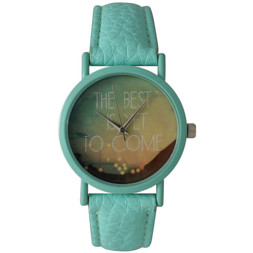 """Olivia Pratt Womens Mint """"The Best Is Yet To Come"""" Multi-Color Dial Mint Leather Strap Watch 15117"""