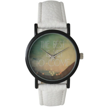 "jcpenney.com | Olivia Pratt Womens Black ""The Best Is Yet To Come"" Multi-Color Dial White Leather Strap Watch 15117"