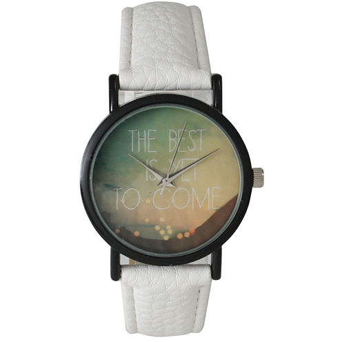 """Olivia Pratt Womens Black """"The Best Is Yet To Come"""" Multi-Color Dial White Leather Strap Watch 15117"""