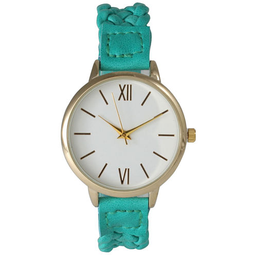 Olivia Pratt Womens Gold-Tone White Dial Teal Braided Faux Leather Strap Watch 15141