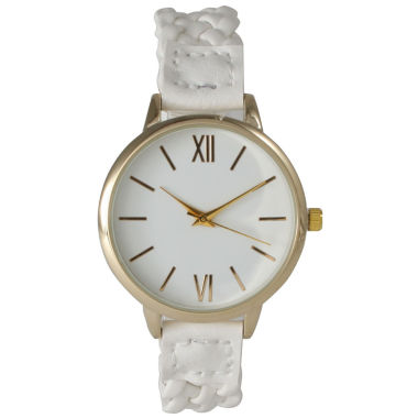 jcpenney.com | Olivia Pratt Womens Gold-Tone White Dial White Braided Faux Leather Strap Watch 15141
