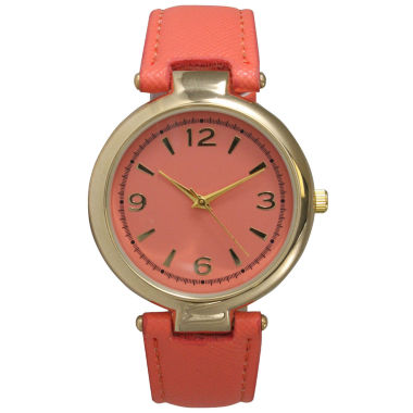 jcpenney.com | Olivia Pratt Womens Gold-Tone Coral Leather Strap Watch 15253