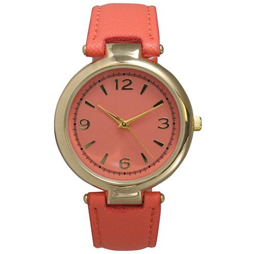 Olivia Pratt Womens Gold-Tone Coral Leather Strap Watch 15253