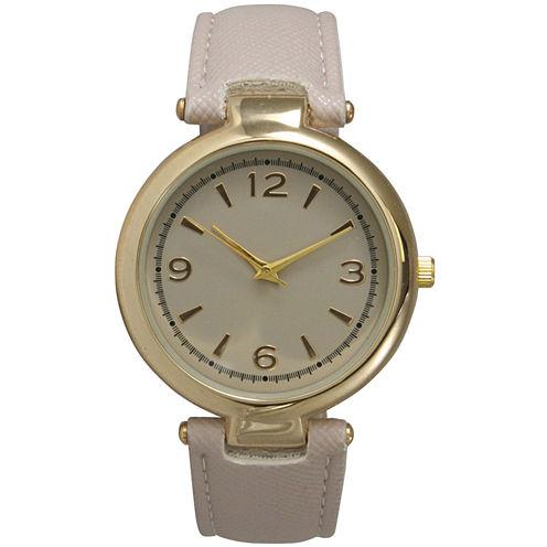 Olivia Pratt Womens Gold-Tone Beige Leather Strap Watch 15253