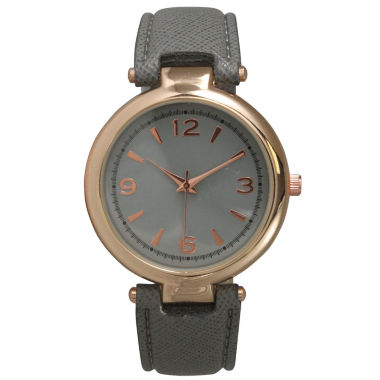 jcpenney.com | Olivia Pratt Womens Rose Gold-Tone Grey Leather Strap Watch 15253