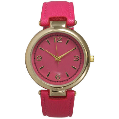 jcpenney.com | Olivia Pratt Womens Gold-Tone Hot Pink Leather Strap Watch 15253