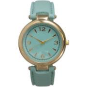 Olivia Pratt Womens Gold-Tone Mint Leather Strap Watch 15253