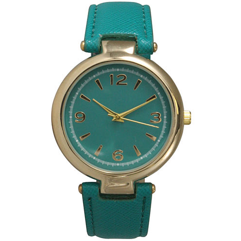 Olivia Pratt Womens Gold-Tone Teal Leather Strap Watch 15253