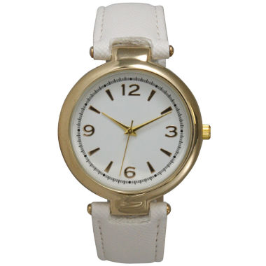 jcpenney.com | Olivia Pratt Womens Gold-Tone White Leather Strap Watch 15253