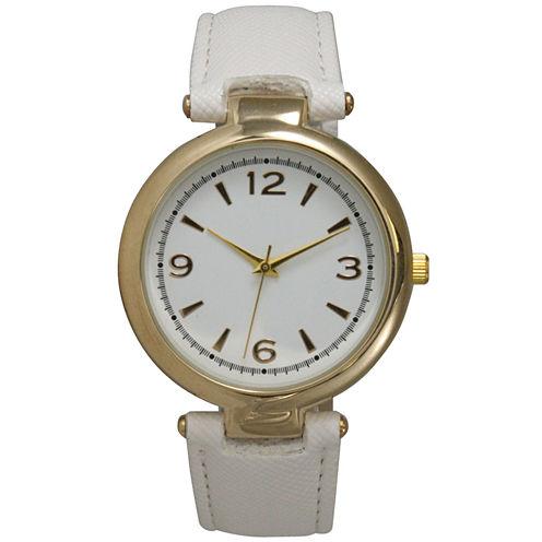 Olivia Pratt Womens Gold-Tone White Leather Strap Watch 15253