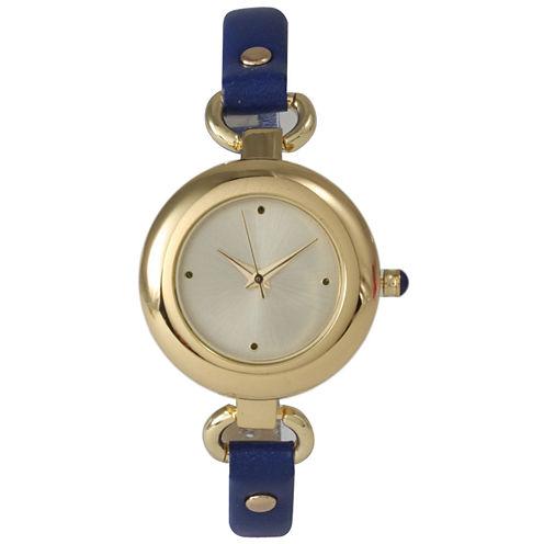 Olivia Pratt Womens Gold-Tone Blue Leather Strap Watch 15302