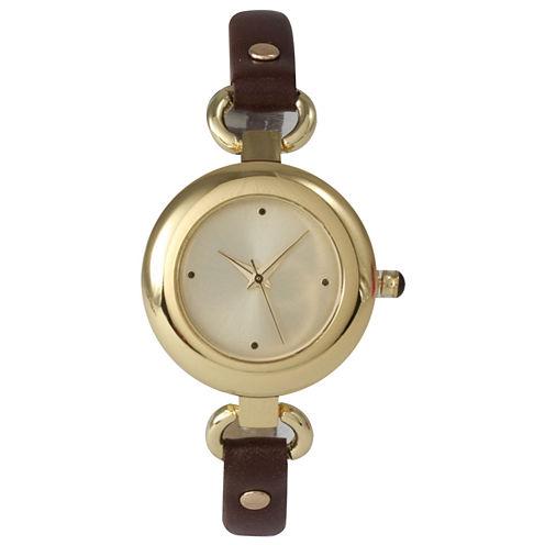 Olivia Pratt Womens Gold-Tone Brown Leather Strap Watch 15302