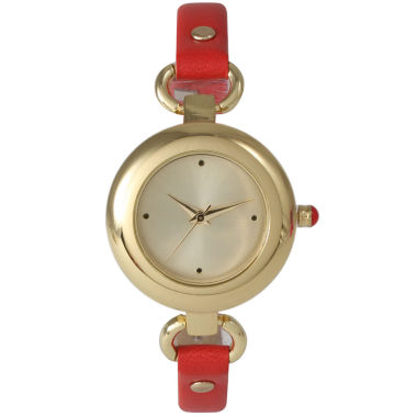 jcpenney.com | Olivia Pratt Womens Gold-Tone Red Leather Strap Watch 15302