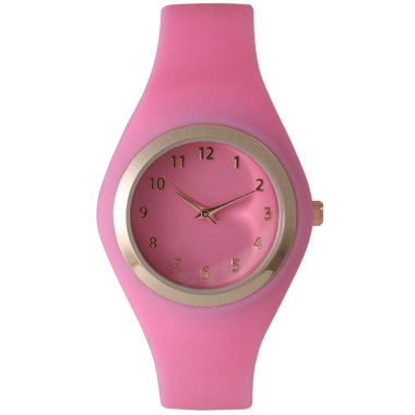 jcpenney.com | Olivia Pratt Womens Gold-Tone Bubble Pink Silicone Strap Watch 15310S