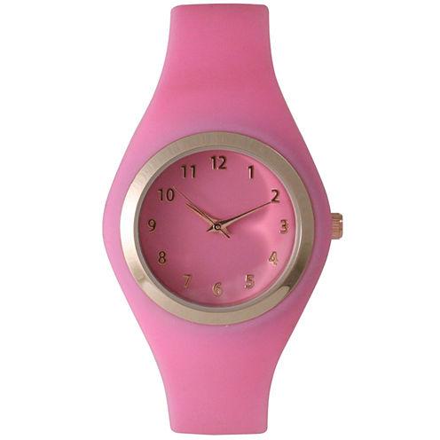 Olivia Pratt Womens Gold-Tone Bubble Pink Silicone Strap Watch 15310S