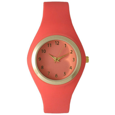 jcpenney.com | Olivia Pratt Womens Gold-Tone Coral Silicone Strap Watch 15310S