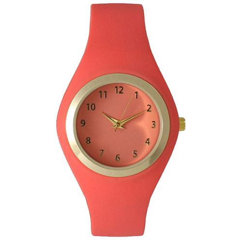 Olivia Pratt Womens Gold-Tone Coral Silicone Strap Watch 15310S