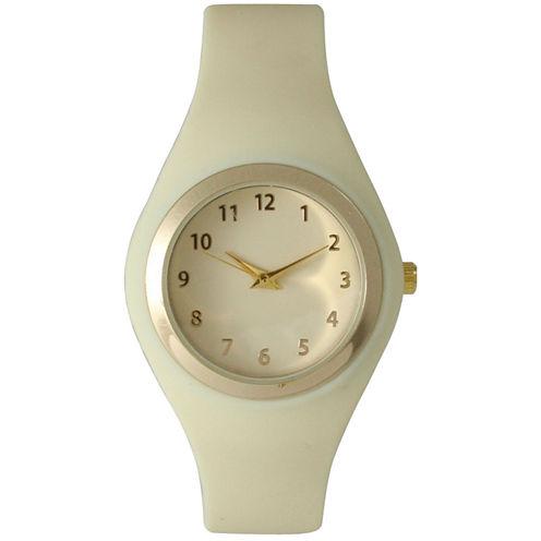 Olivia Pratt Womens Gold-Tone Cream Silicone Strap Watch 15310S