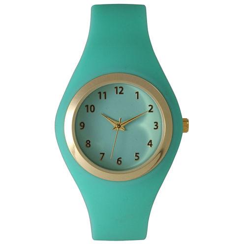 Olivia Pratt Womens Gold-Tone Mint Silicone Strap Watch 15310S