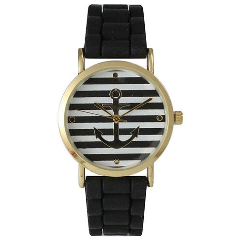 Olivia Pratt Womens Horizontal Stripe Anchor Emblem Dial Black Silicone Watch