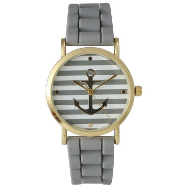 jcpenney.com | Olivia Pratt Womens Horizontal Stripe Anchor Emblem Dial Gray Silicone Watch