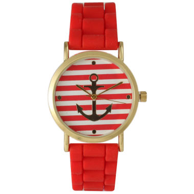 jcpenney.com | Olivia Pratt Womens Horizontal Stripe Anchor Emblem Dial Red Silicone Watch