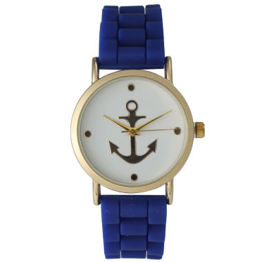 jcpenney.com | Olivia Pratt Womens Gold Anchor Emblem Dial Royal Silicone Watch