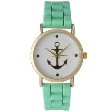 jcpenney.com | Olivia Pratt Womens Gold Anchor Emblem Dial Mint Silicone Watch 8056Mint