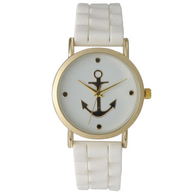 jcpenney.com | Olivia Pratt Womens Gold Anchor Emblem Dial White Silicone Watch 8056White