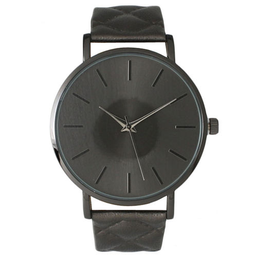 Olivia Pratt Womens Gunmetal Quilted Leather Strap Watch 13029Mgunmetal