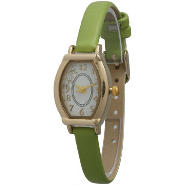 jcpenney.com | Olivia Pratt Womens Petite Lime Leather Watch 13420Lime