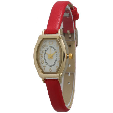 jcpenney.com | Olivia Pratt Womens Petite Red Leather Watch 13420Red