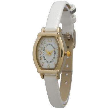 jcpenney.com | Olivia Pratt Womens Petite White Leather Watch 13420White