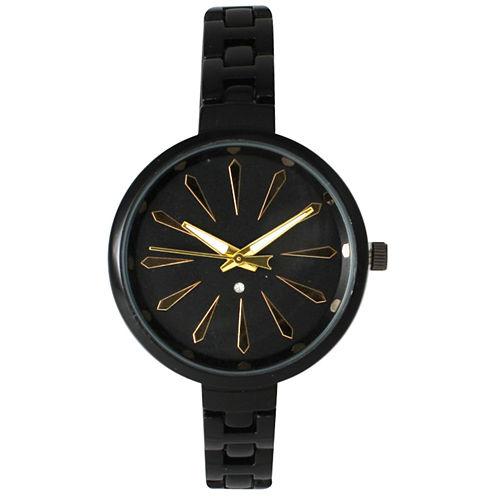 Olivia Pratt Womens Black Petite Band Bracelet Watch 15134 15134Black