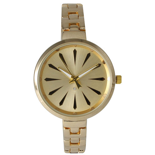 Olivia Pratt Womens Gold-Tone Petite Band Bracelet Watch 15134 15134Gold