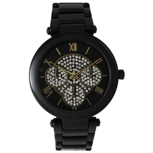 Olivia Pratt Womens Black Rhinestone Accent Dial Bracelet Watch 15140 15140Black