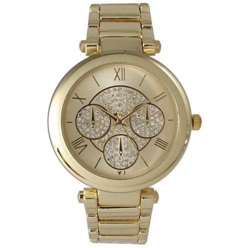 Olivia Pratt Womens Gold-Tone Rhinestone Accent Dial Bracelet Watch 15140 15140Gold