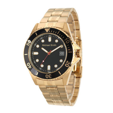 jcpenney.com | Personalized Mens Gold Tone Black Dial Diver Bracelet Watch