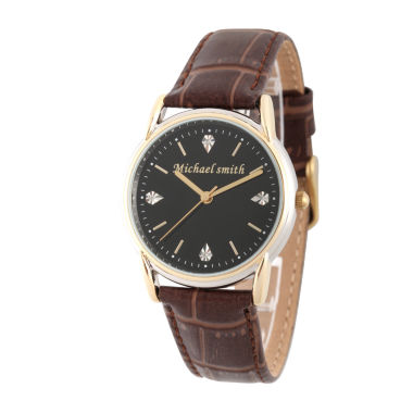 jcpenney.com | Personalized Mens Brown Leather 4 Diamond Strap Watch