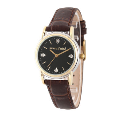 jcpenney.com | Personalized Womens Brown Leather 4 Diamond Strap Watch