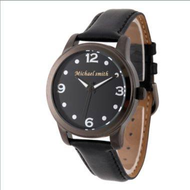 jcpenney.com | Personalized Mens Black Alloy Leather Strap Watch