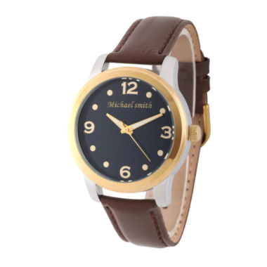 jcpenney.com | Personalized Mens Gold Tone Alloy Brown Leather Strap Watch