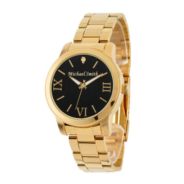 jcpenney.com | Personalized Gold Tone Black Dial Stainless Steel Bracelet Watch