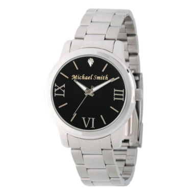 jcpenney.com | Personalized Silver Tone Black Dial Stainless Steel Bracelet Watch