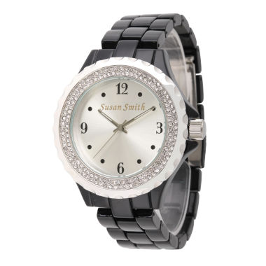 jcpenney.com | Personalized Womens Black Alloy Silver Dial Bracelet Watch