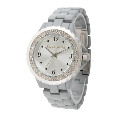 jcpenney.com | Personalized Womens Gray Alloy And Silver Tone Dial Bracelet Watch