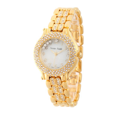 jcpenney.com | Personalized Womens Gold Tone Crystal Accent Bracelet Watch