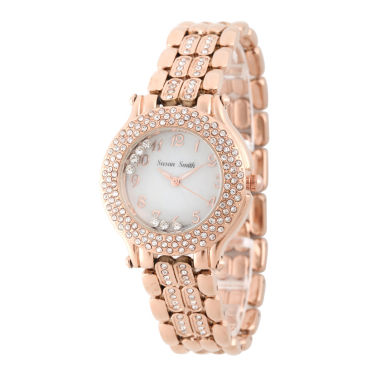jcpenney.com | Personalized Womens Rose Gold Tone Crystal Accent Bracelet Watch