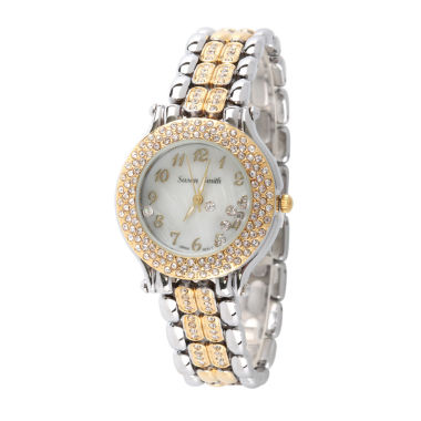 jcpenney.com | Personalized Womens Two Tone Crystal Accent Bracelet Watch